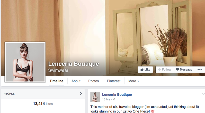 Lenceria Boutique Facebook