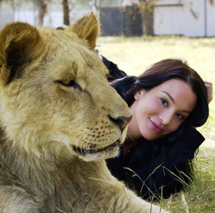 Christina Cindrich with the Black Jaguar White Tiger Foundation