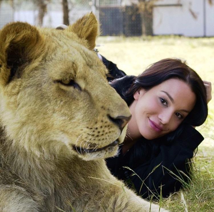 Christina Cindrich with the Black Jaguar White Tiger Foundation